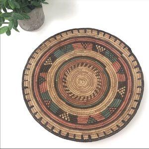 Straw Woven Boho Geometric Basket 12 Inches